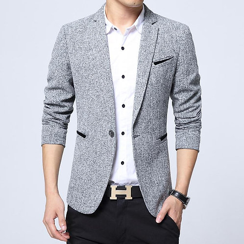 Casual Men Blazer Cotton Slim Fit High Quality Luxury Male Fashion Brand