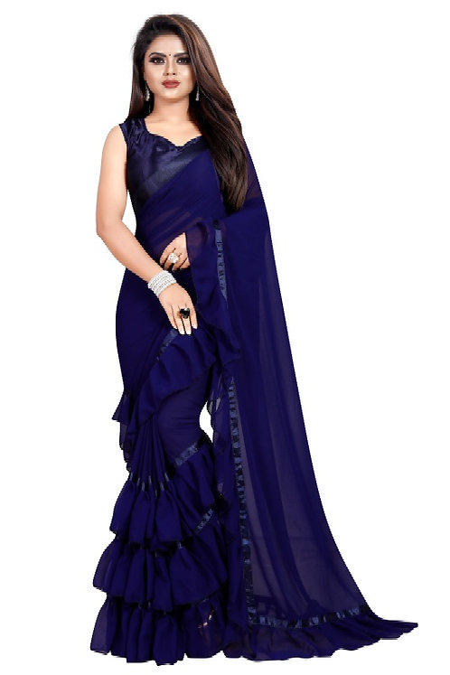 TexStile Women's Georgette Ruffle Black Blue Green Saree With Blouse Piece