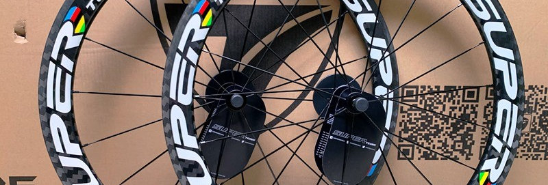 Bộ bánh xe đạp SUPERTEAM 50 - Full Carbon (Tem trắng/vân carbon)