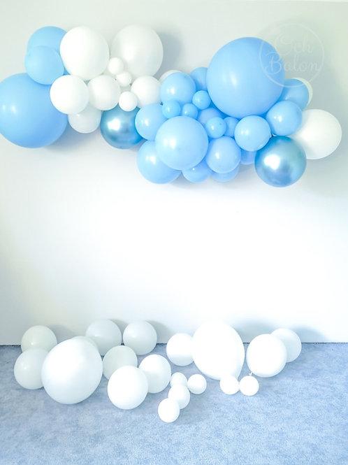 Girlanda balonowa - niebiesko biała