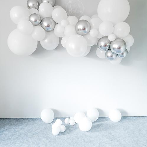 Girlanda balonowa - biało srebrna