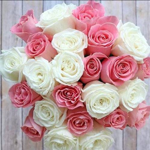 Pink Powder Puff ™ Rose Flower Bunch by 1800Gifters ®