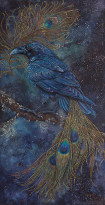 painting of a crow with a peacock tail with a night sky background