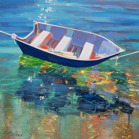 painting of a row boat on bright water