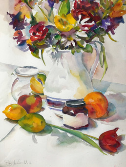 a still life with flowers, a vase, and a jar of jam
