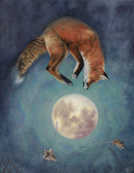 painting of a fox jumping above a full moon with two mice fleeing below