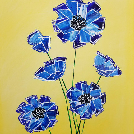 six blue flowers on a rich yellow background