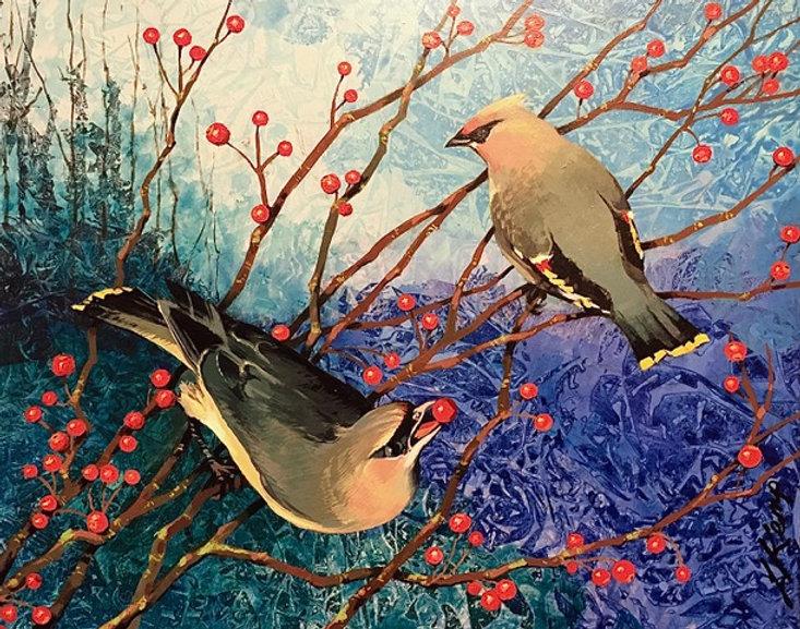 two birds among several branches with red berries over an abstract blue and green background