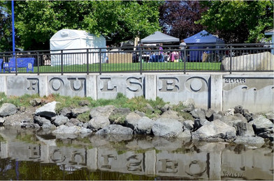 Poulsbo Arts Festival as seen from Liberty Bay
