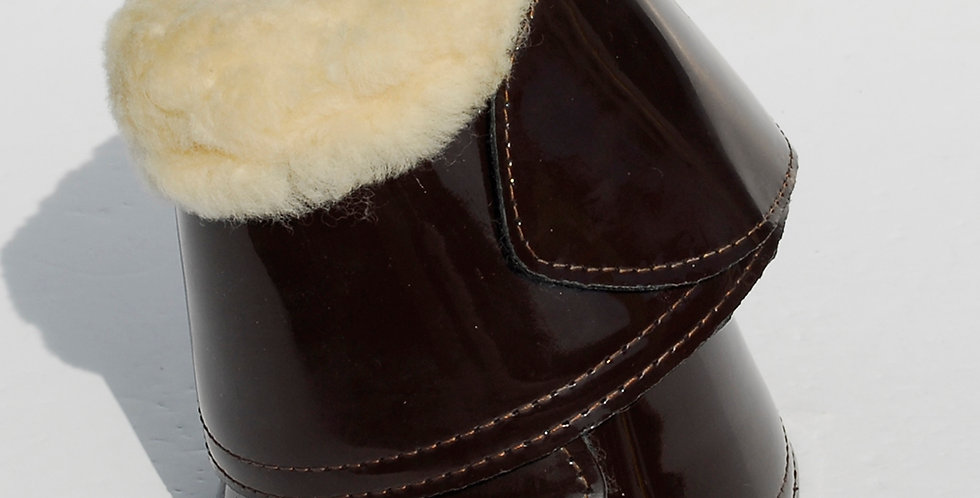 Rhinegold Elite Patent Leather Covered Neoprene Over Reach Boots