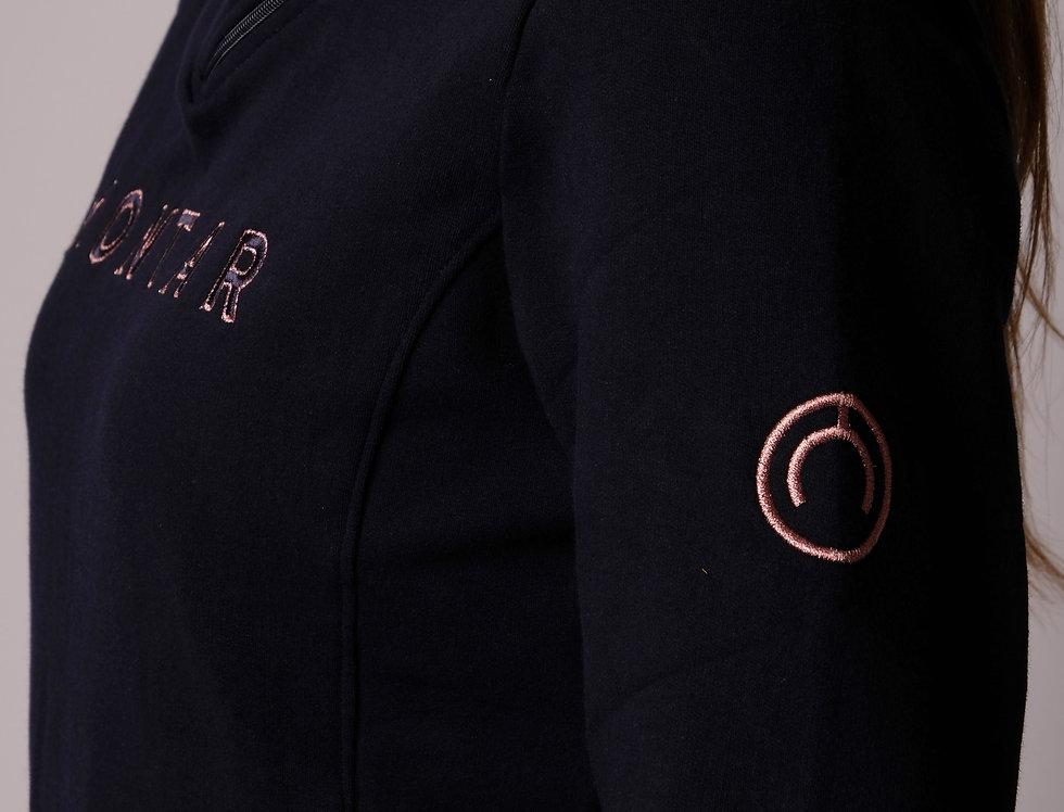 Montar Simone Sweatshirt with side neck zipper - Navy