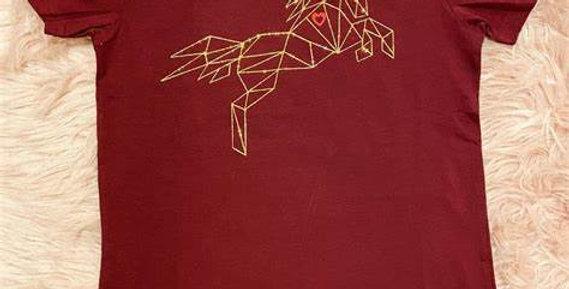 Eliza T Imperfectly Perfect Geometric Unicorn Ladies Tee - Merlot & Gold