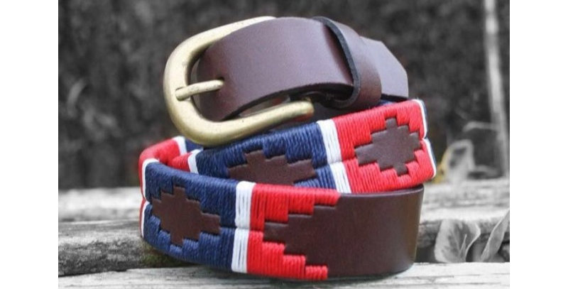 Elano Leather Belt- red/white/blue