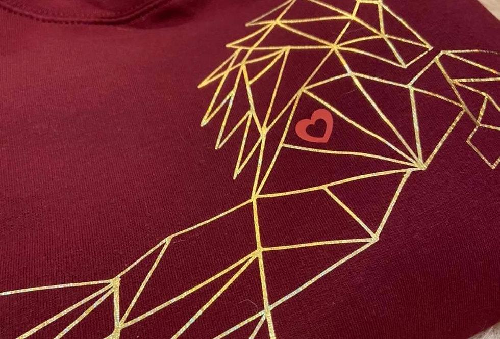 Eliza T Imperfectly Perfect Geometric Unisex Unicorn Sweater -Merlot