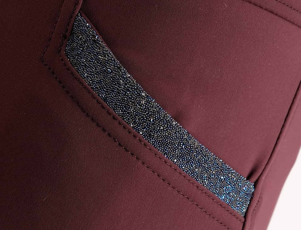 Montar Ivy Swarovski Soft-Tech Highwaist Breeches - Plum, Fullgrip