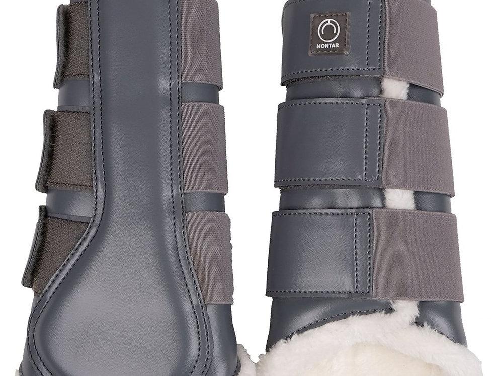 Montar Sheepskin Brushing Boots Set of 4 - Smooth Grey