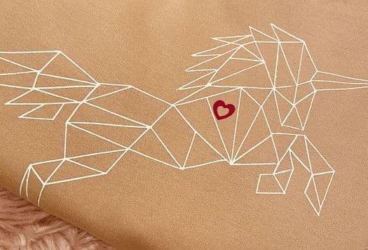 ElizaT Imperfectly Perfect Geometric Unisex Unicorn Sweater -Nude