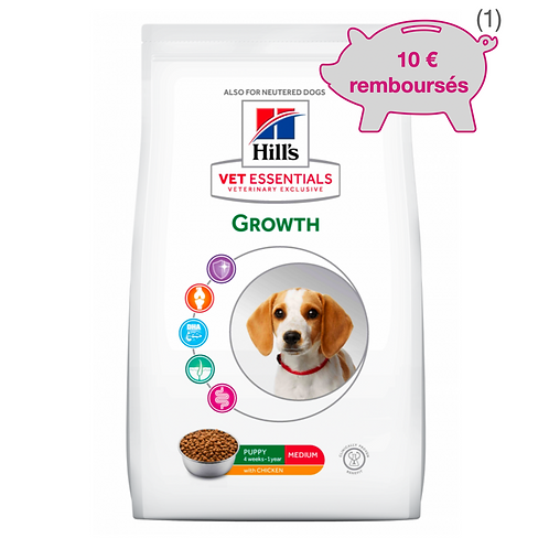 Vetessentials Canine Puppy Growth Medium Poulet 10kg