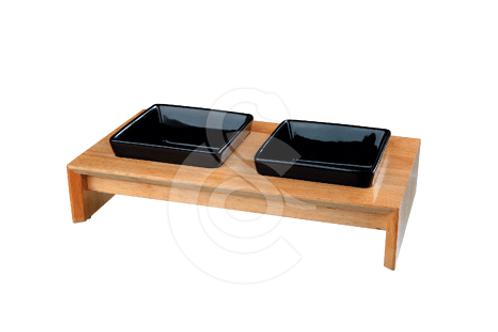 Gamelle en ceramique sur support bois