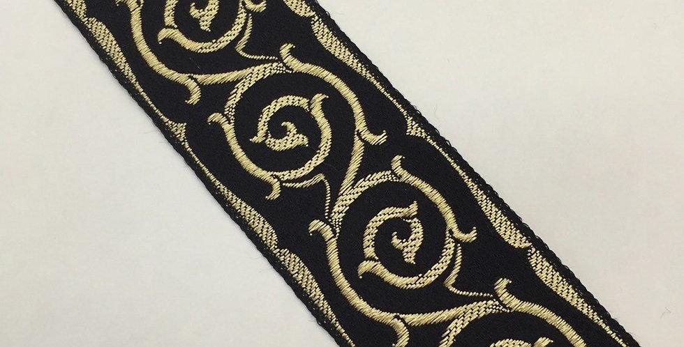 Black and Gold Flat Braid - Woven Trim
