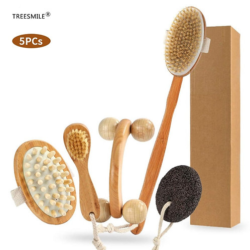 Natural Dry Body Brush Set for Exfoliation, Body Massage & Lymphatic Drainage
