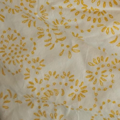 Stoffmaske Weiss mit gelbem Muster