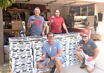 Long time customers toasting the 2019 grape harvest and arrival!