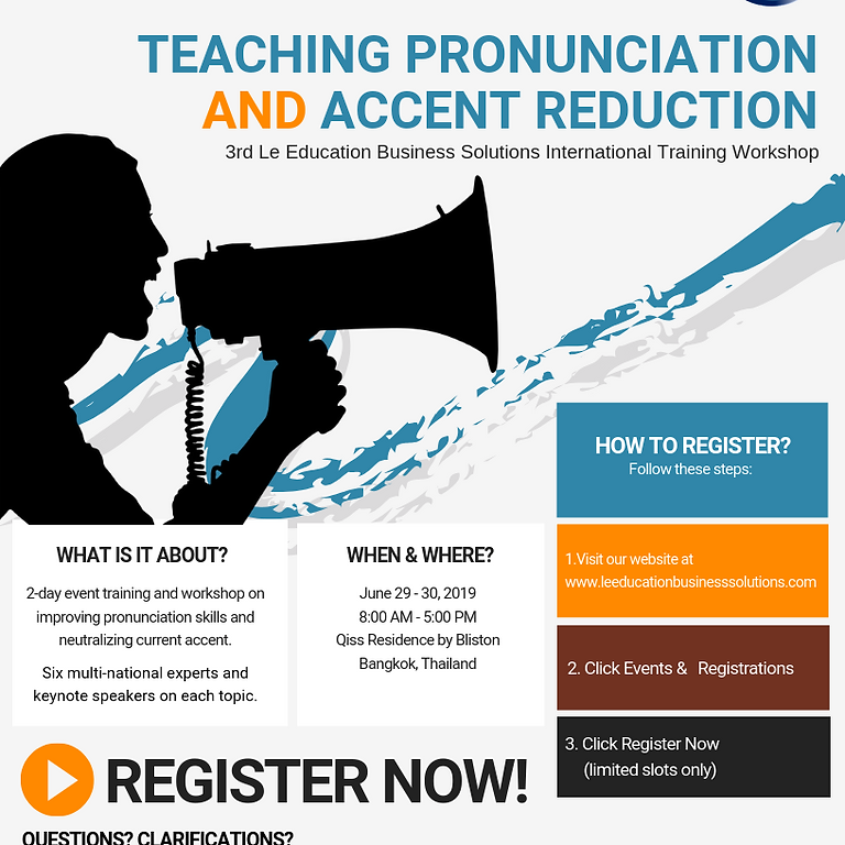 3rd LeEBS International Training Workshop 2019 on Teaching Pronunciation and Accent Reduction
