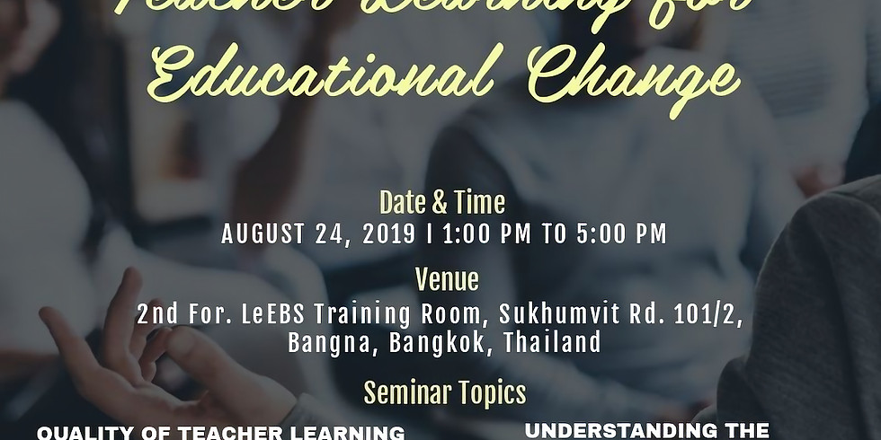 Intensive Teacher Learning for Educational Change by LeEBS-ITTC