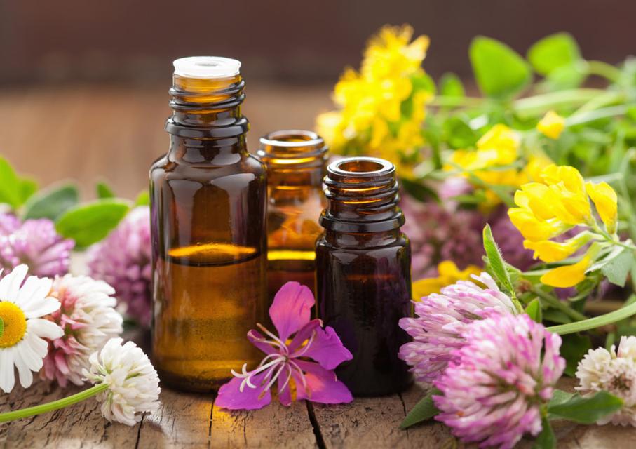 flores e óleos usados na aromaterapia