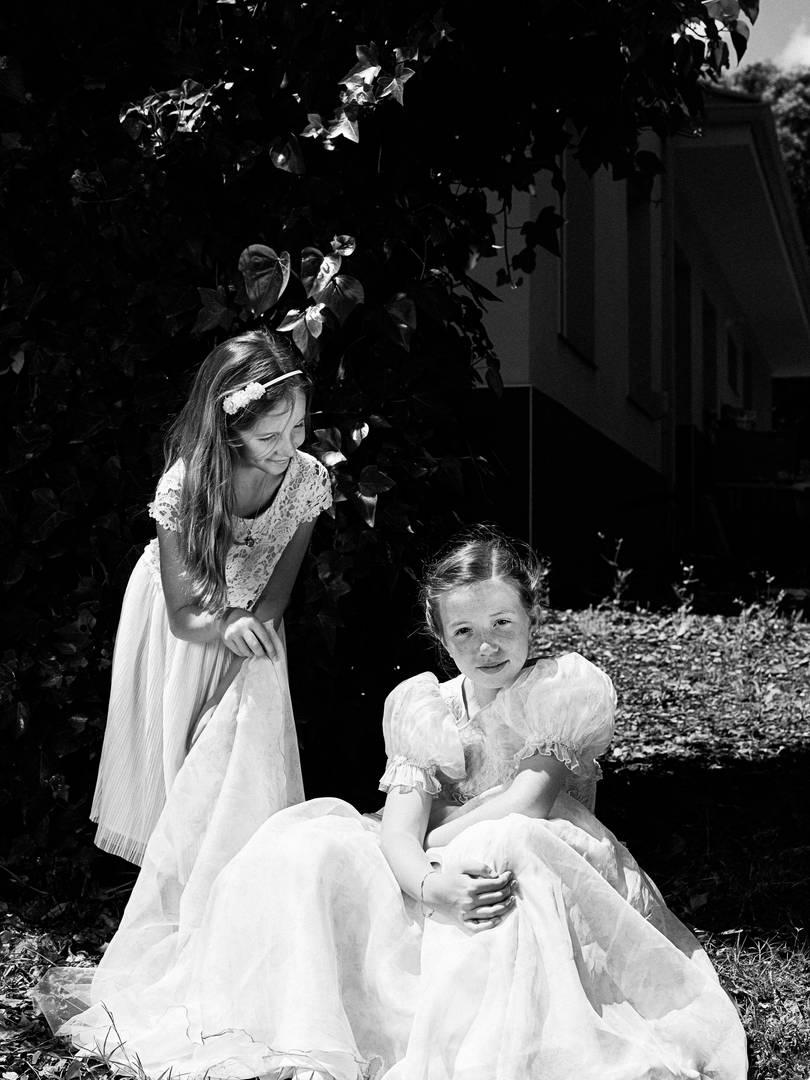 retrato primera comunión dos hermanas
