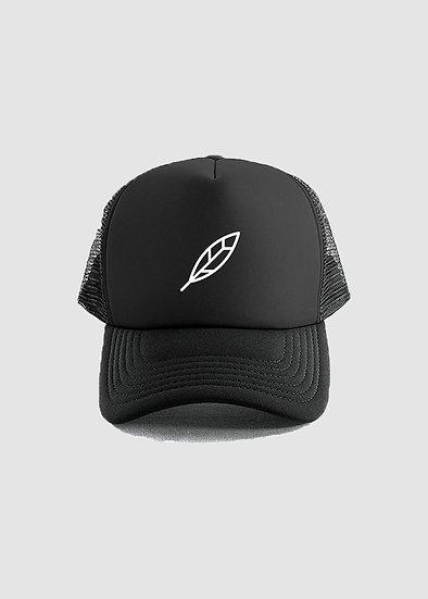 FEATHER TRUCKER CAP - BLACK