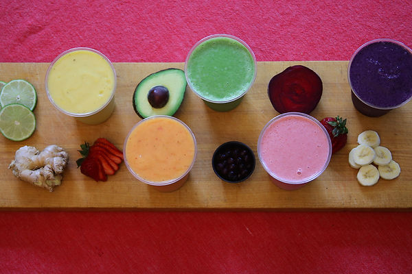 Smoothies, juice, fruit