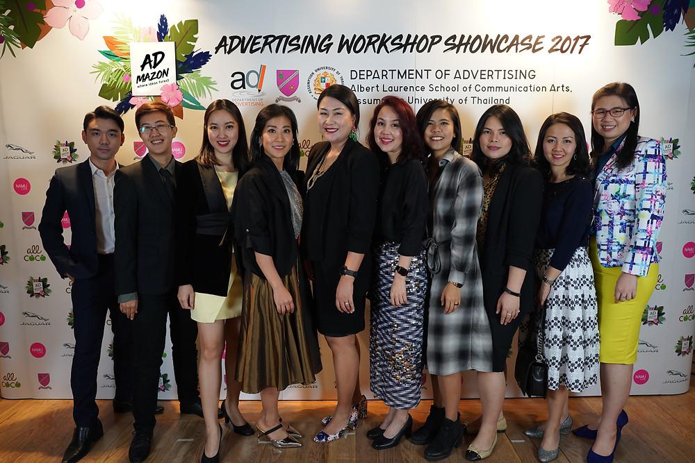 (Lecturers of the advertising department took a group photo, A. Dr. Nutthaphut Pandjad, A. Chutinun Kaewkatorn, A. Pitchanut Nueangjamnong, A. Duangporn Supanvanij, A. Chulamani Chantarawandi, A. Dr. Prichaya Manmin, A. Ammaritta Rattanapanop, A. Preeyaporn Jansombat, A. Dr. Parichart Wongweeranonchai, and A. Arpasri Sothonvit) (from left to right)