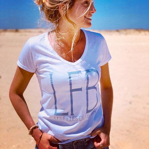"""T-shirt """"LFB"""" blanc et ciel"""