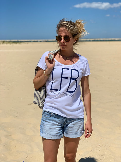 "T-Shirt ""LFB"" blanc et marine"