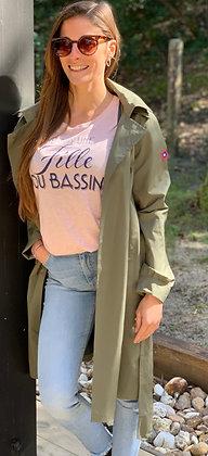 T-shirt col rond rose chiné «Je suis ...»