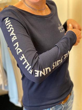 T-shirt Manches longues marine/argent