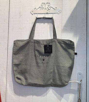 Cabas lin couleur gris béton