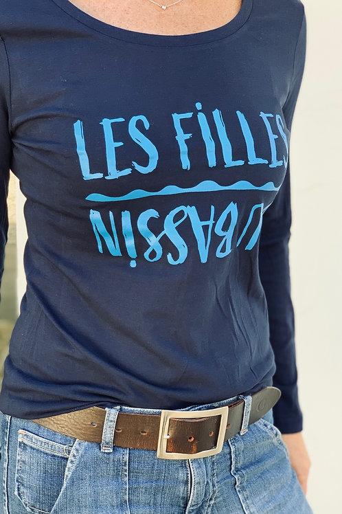Tee-shirt manches longues marine inversé