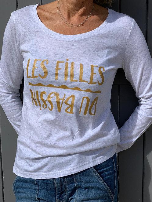 T-shirt manches longues blanc chiné