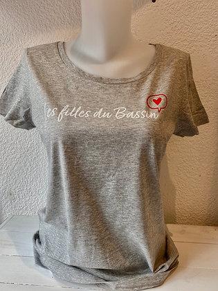 T-shirt chiné gris coeur
