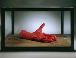 LouiseBourgeois_Hand_2001_Redfabric_wood_glassandsteel_2