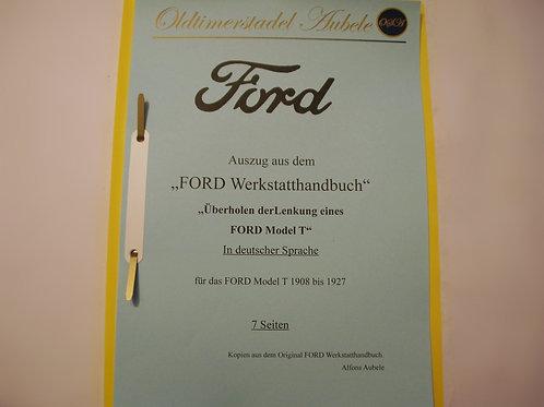 """Reparaturanleitung """"Lenkung überholen Ford Model T"""" 1909-27 7 Seiten"""