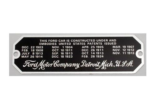 Typenschild, Ford Model T, 1926-27, 04/04