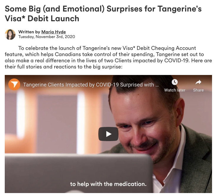 Tangerine Visa* Debit Launch