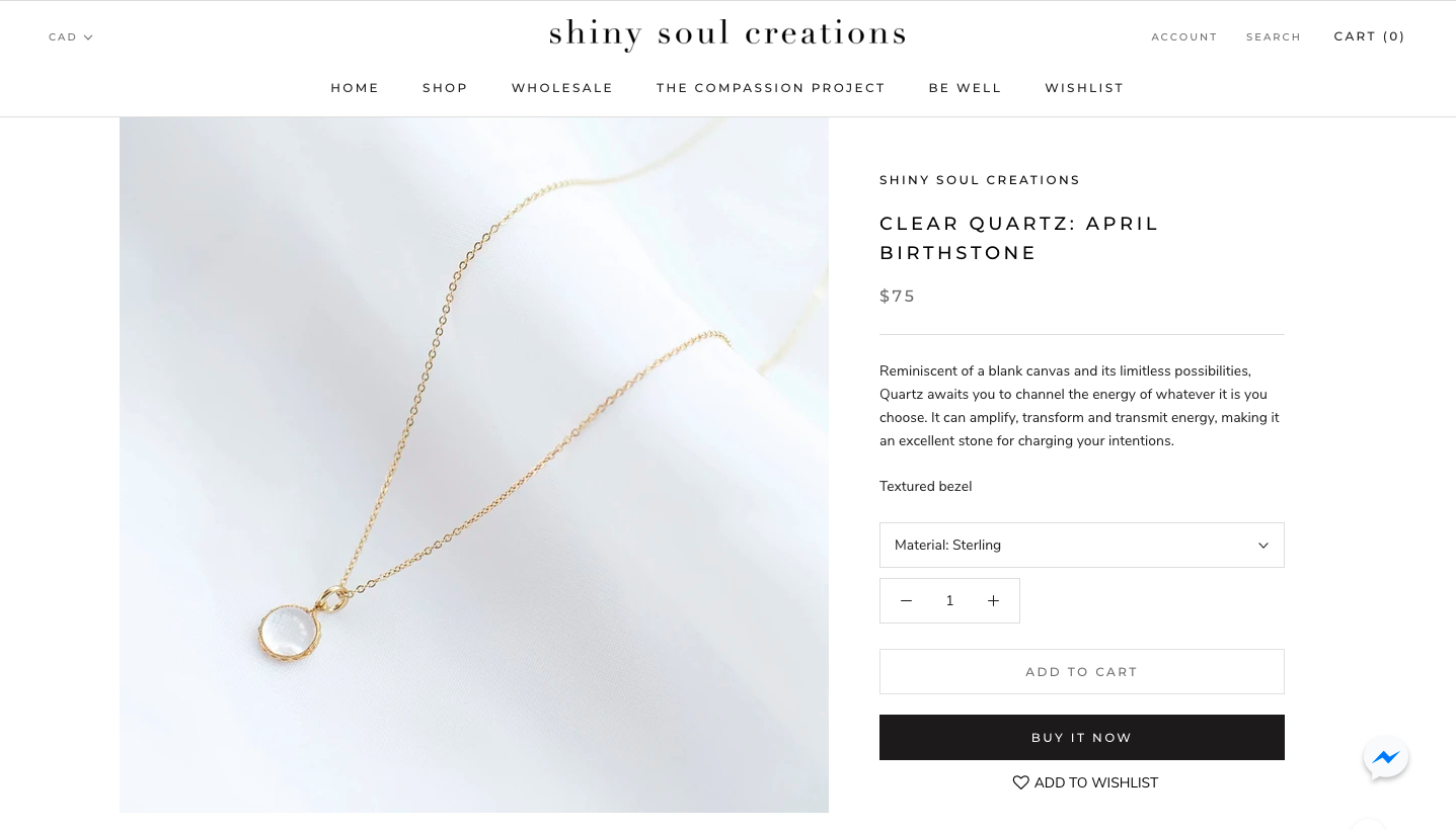 Shiny Soul Creations Clear Quartz April Birthstone Necklace