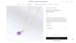 Shiny Soul Creations Amethyst February Birthstone Necklace