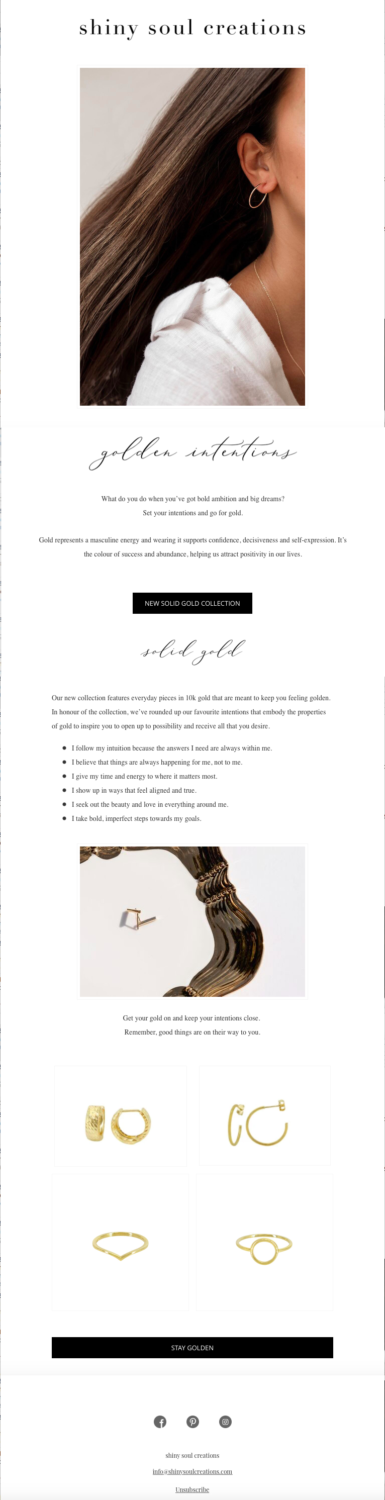 Solid Gold Collection Launch Email