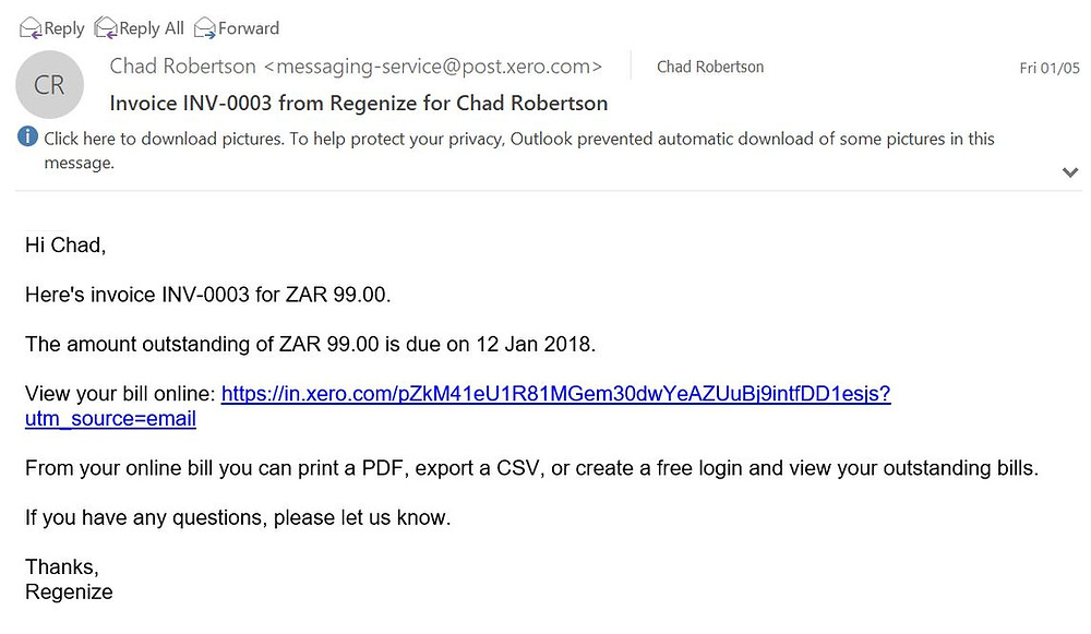 email invoice screenshot